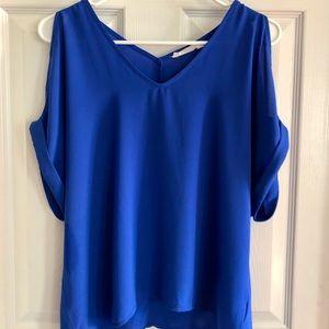 Lush Blue V-Neck Split Sleeve Top